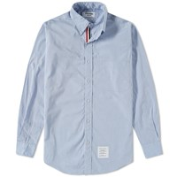Thom Browne Grosgrain Placket Solid Poplin Shirt Blue