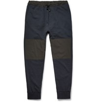 Helbers Slim Fit Tapered Shell Panelled Wool And Cashmere Blend Sweatpants Navy