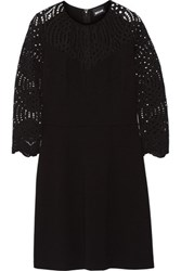 Just Cavalli Lace Paneled Stretch Jersey Mini Dress Black