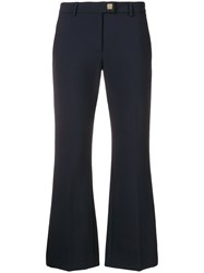 Versace Collection Flared Cropped Trousers Blue
