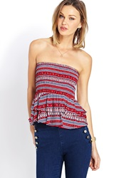 Forever 21 Boho Babe Ruffled Tube Top Red Cream