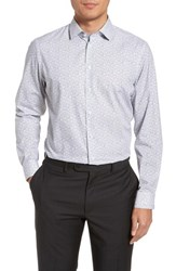 Calibrate Big And Tall Trim Fit Butterfly Print Sport Shirt White