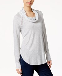 Maison Jules Cowl Neck Crocheted Trim Top Only At Macy's Grey