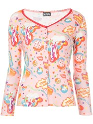 Hysteric Glamour Snap Button Printed Top Pink And Purple