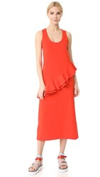 Msgm Asymmetrical Tank Dress Red