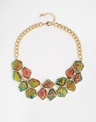 Warehouse Luxe Foil Stone Collar Necklace Blue