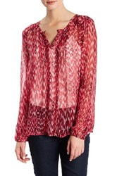 Casual Studio Split Neck Pleated Blouse Red