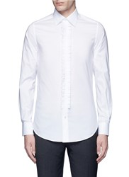 Ports 1961 Pleated Front Cotton Poplin Shirt White