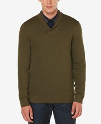Perry Ellis Men's Lightweight Shawl Collar Sweater Forest Pine