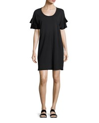 Current Elliott The Ruffle Roadie T Shirt Dress Black