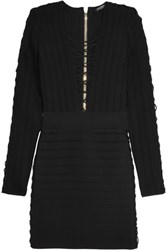Balmain Lace Up Ribbed Stretch Knit Mini Dress Black