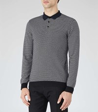 Reiss Cosmic Mens Contrast Weave Polo Shirt In Blue