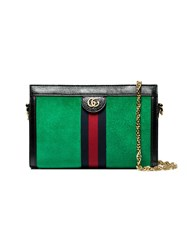 Gucci Green Ophidia Web Small Suede Shoulder Bag