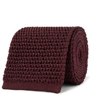 Tom Ford 7.5Cm Knitted Silk Tie Burgundy