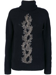 Jo No Fui Bead Embroidery Turtleneck Jumper Polyamide Polyester Cashmere Glass Blue