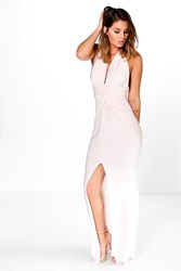 Boohoo Gathered Knot Plunge Slinky Maxi Dress Peach