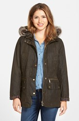 Women's Barbour 'Kelsall' Faux Fur And Faux Shearling Trim Waxed Cotton Parka