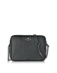 Zadig And Voltaire Black Embossed Leather Boxy Cobra Crossbody Bag