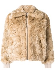 08Sircus Faux Fur Zipped Jacket Nude And Neutrals
