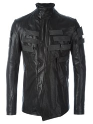 Julius Applique Detail Leather Jacket Black