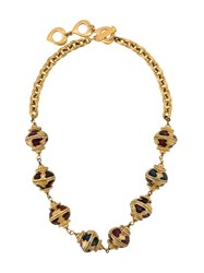 Yves Saint Laurent Vintage Coloured Beaded Necklace Gold