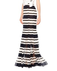 Dolce And Gabbana Sheer Striped Silk Maxi Skirt Navy White Navy White Stripe