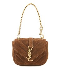 Saint Laurent Mini College Chain Wallet Quilted Suede Handbag Brown
