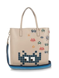 Anya Hindmarch Ebury Space Invaders Leather Tote Grey Multi