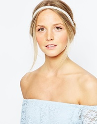 Pieces Enice Faux Pearl Headband Whitegrey