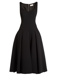 Sara Battaglia Full Skirt Drop Waist Midi Dress Black