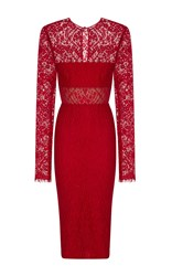 Alex Perry Madalene Cloque And Lace Long Sleeve Pencil Dress Red