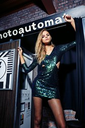 Boohoo Ava Metallic Sequin Bodycon Dress Green