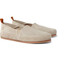Mulo Collapsible Heel Suede Loafers Neutral