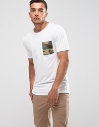 Only And Sons T Shirt With Camo Pocket White Green Camo