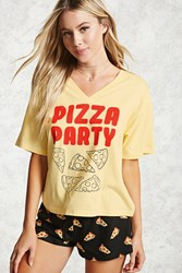 Forever 21 Pizza Party Pj Set Yellow Black