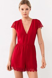 Kimchi And Blue Lace Deep V Romper Maroon