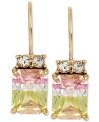 Betsey Johnson Gold Tone Faceted Color Cubic Zirconia Drop Earrings Multi