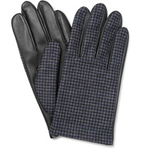 Lanvin Checked Wool And Leather Gloves Gray