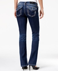 Miss Me Ripped Embellished Bootcut Jeans Dark Blue Wash