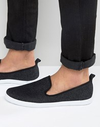 New Look Slip On Plimsolls In Black Black