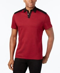 Alfani Men's Slim Fit Geometric Print Polo Only At Macy's Red Velvet