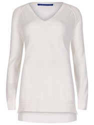 Winser London Cotton V Neck Jumper White