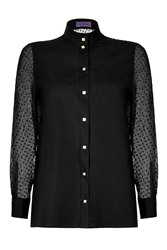 Ungaro Cotton Poplin Blouse With Silk Chiffon Sleeves