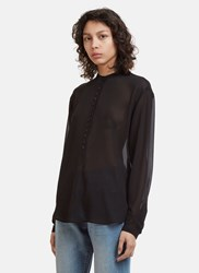 Saint Laurent Button Front Sheer Blouse Black