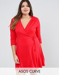 Asos Curve Mini Tea Skater Dress With Wrap Front And 3 4 Sleeve Red Brown