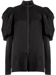 Vera Wang Ruffle Shoulder Blouse Black