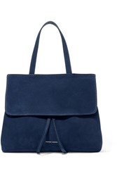 Mansur Gavriel Lady Mini Leather Trimmed Suede Tote Navy