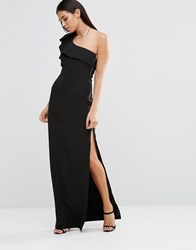 Forever Unique Aiko One Shoulder Maxi Dress With Side Zip Black