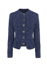Karen Millen Military Denim Jacquard Jacket Blue