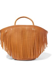 Trademark Large Fringed Leather Tote Tan